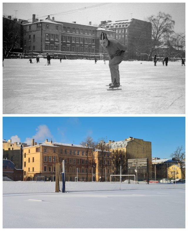 """""""На катке"""" (Стадион Лесгафта)1970 и 2021"""