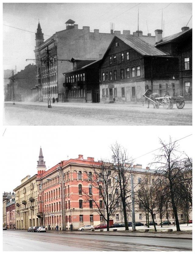 Шлиссельбургский проспект / проспект Обуховской Обороны.1938 и 2021 год.