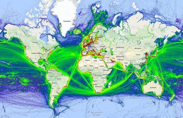 Мировая карта движения морских судов