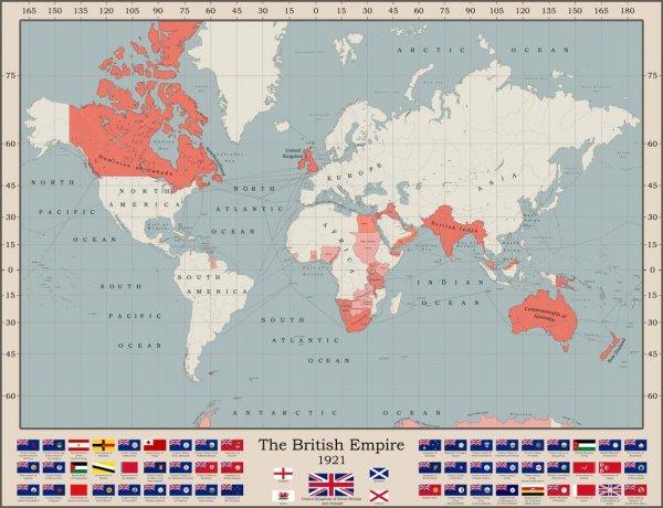 Размер Британской Империи во время их территориального пика