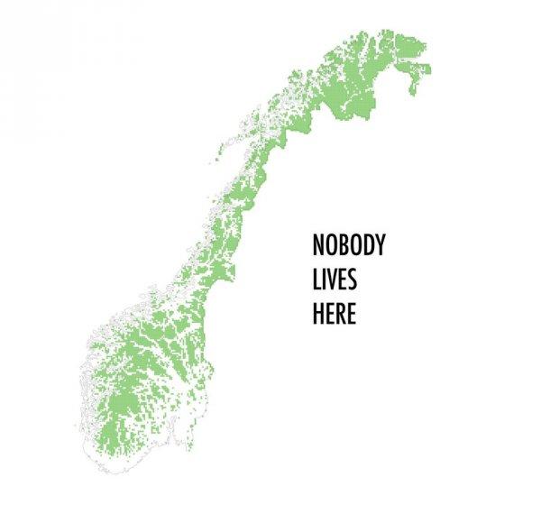Зелёным выделена часть территории Норвегии, где никто не живёт