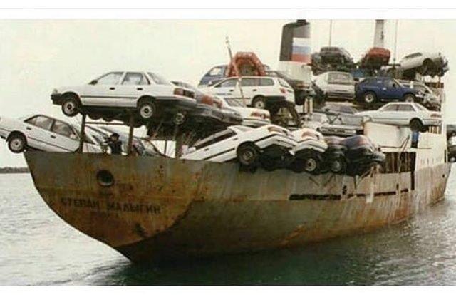 Японские авто отправляются в РФ, 1990-е.