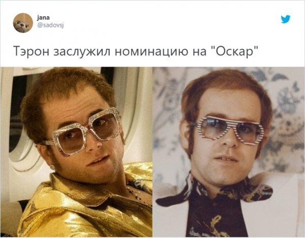 Тэрон Эджертон в роли Элтона Джона в фильме «Рокетмен» (2019)