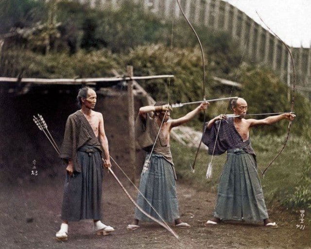 Тренировка японских самураев. 1860 год.