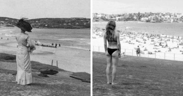 Пляж Бонди в Австралии, 1910 и 2017 год