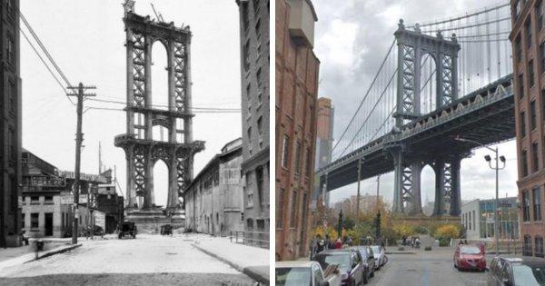 Мост в Манхэттене, 1908 год и нынешнее время
