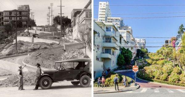 Ломбард-стрит в Сан-Франциско, США, до и после её постройки