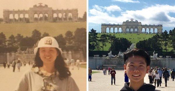Я смотрел фотографии мамы и нашёл снимок из поездки, сделанный возле замка Шёнбрунн
