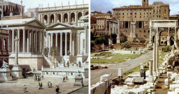 Как Римский форум выглядел раньше и сейчас