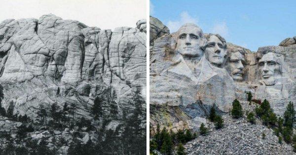 Гора Рашмор в 1922-м году и сейчас