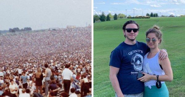 Место проведения фестиваля «Вудсток» в 1969-м и в 2020-м году