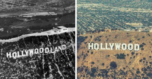 Знак «Голливуд» в 1920-х и сейчас