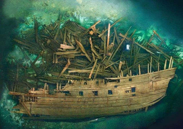 Обломки шведского военного корабля Mars, взорвавшегося во время первой битвы при Эланде, 1564 г. (Балтийское море)