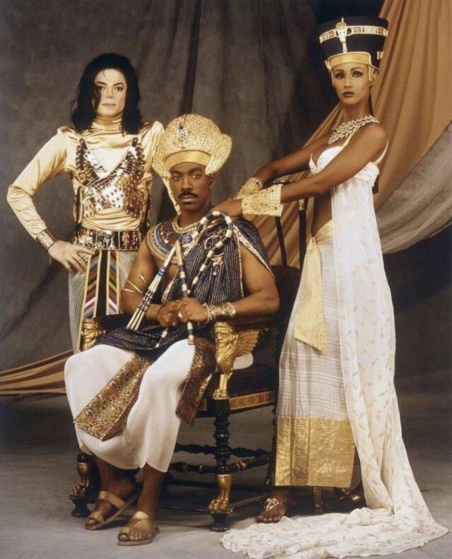 "Майкл Джексон, Эдди Мерфи и Иман на съемках клипа ""Remember the time"", 1991 год."