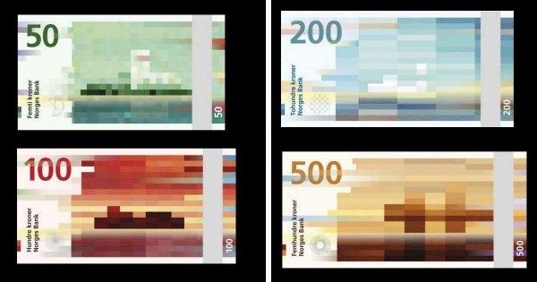 Норвежские кроны с пиксельными изображениями на одной стороне