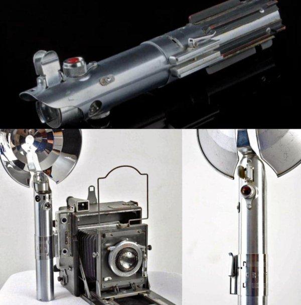 Световой меч Люка Скайуокера из «Звёздных войн» представляет собой рукоятку вспышки от старинной камеры Graflex