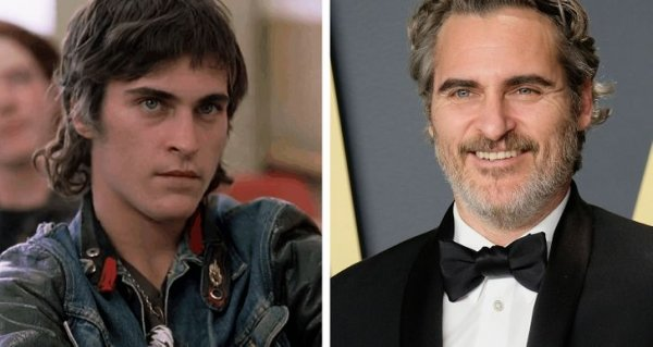 Хоакин Феникс в фильме 1995 года и на вручении «Оскара» в 2020-м