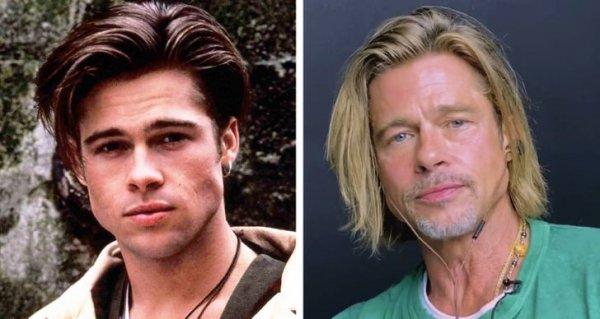 Брэд Питт в сериале «Славные дни» 1990 года и в 2020-м