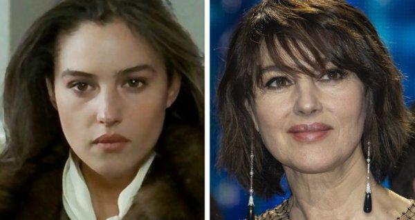 Моника Беллуччи в комедии «Злоупотребление» 1991 года и на мероприятии в 2020 году
