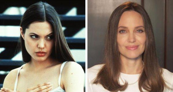 Анджелина Джоли в фильме «Киборг-2: Стеклянная тень» 1993 года и спустя 27 лет