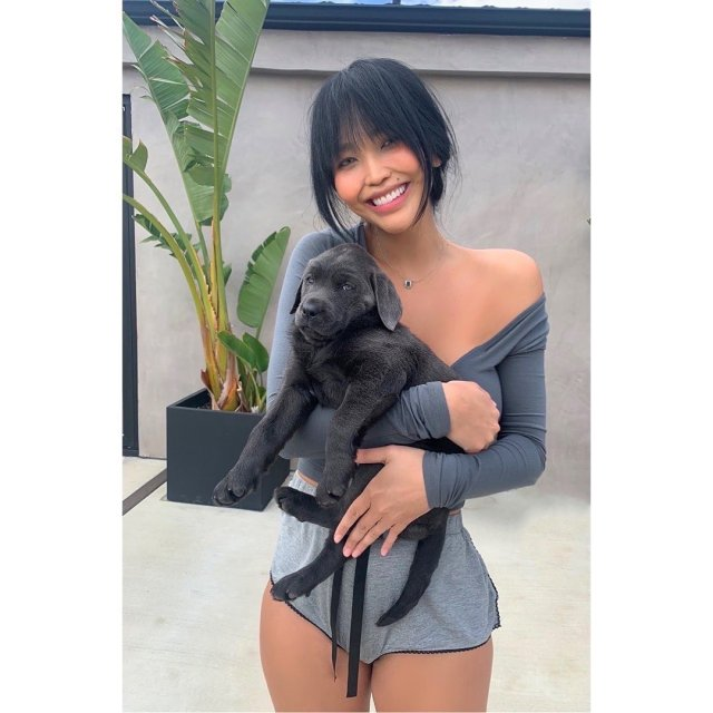 Горячая жена Александра Цекало - художница и режиссер Дарина Эрвин в серой кофте и собакой на руках