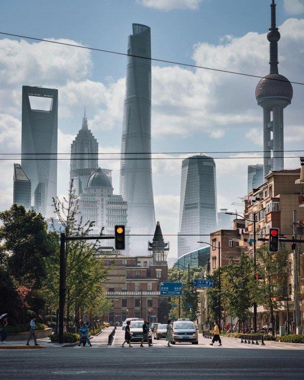 Гиганты района Пудун в Шанхае