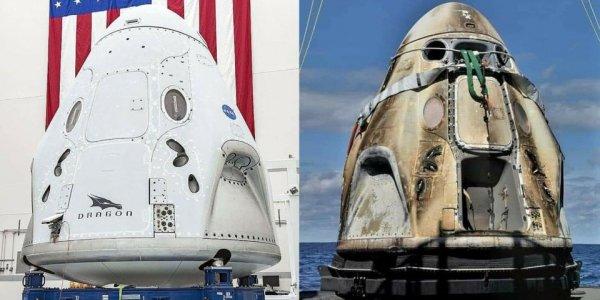 Капсула Crew Dragon до и после полета на космическую станцию