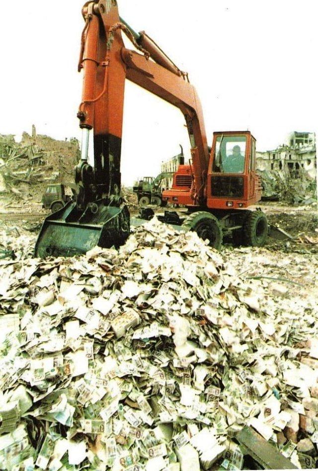 Уничтожение банкнот Грозненского банка, 1995 год.
