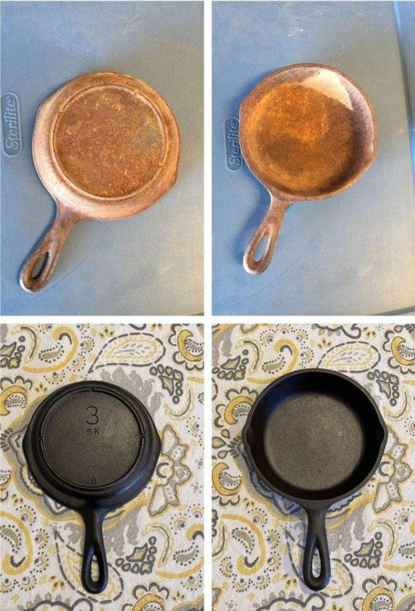 Чугунная сковородка 50-х годов по-прежнему служит верой и правдой