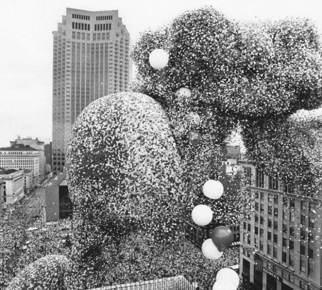 Фестиваль воздушных шаров, 1986. После него были поданы многочисленные миллионные иски к компании, запустившей шары и загрязнившей бухту, город и леса. Фирма в итоге разорилась