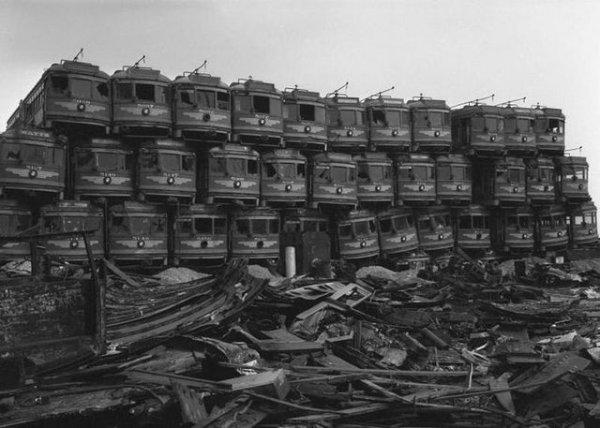 Кладбище трамваев в Калифорнии, 1950-е годы