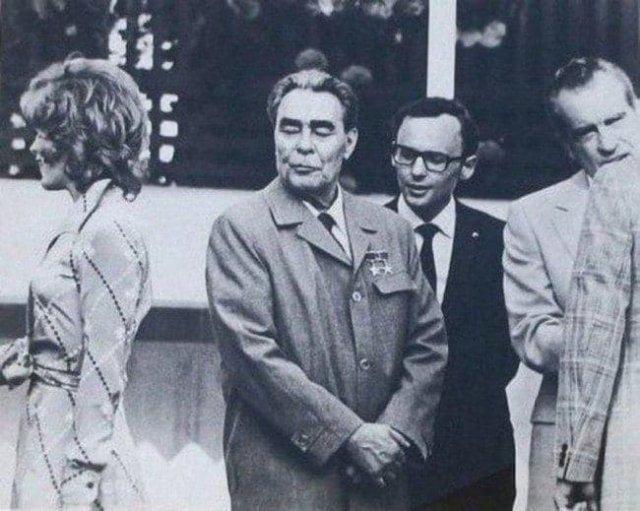 Актриса Джилл Сэнт Джон, Леонид Брежнев и президент США Никсон, 1973 год