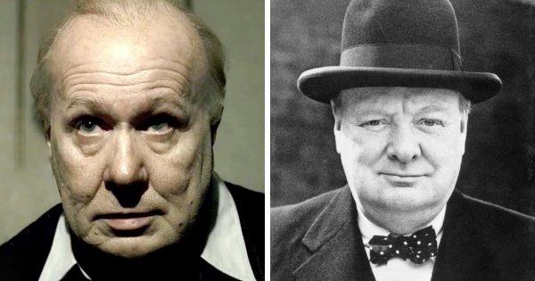 Гэри Олдмен в роли Уинстона Черчилля («Тёмные времена», 2018)