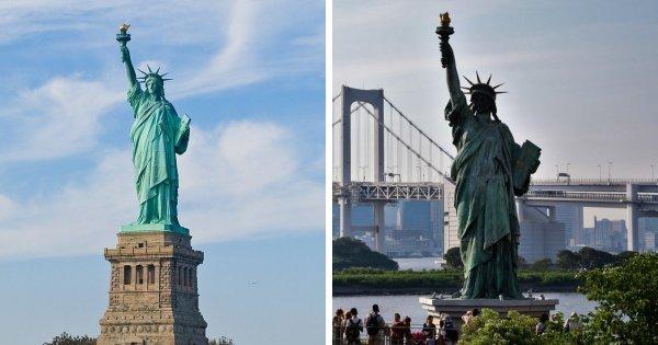 Статуя Свободы в Нью-Йорке и её копия на острове Одайба, Япония