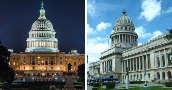 Капитолий в Вашингтоне (США) и Капитолий в Гаване (Куба)