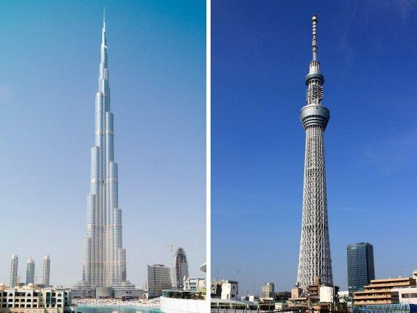 Бурдж-Халифа (Дубай, ОАЭ) и Tokyo Skytree (Токио, Япония)