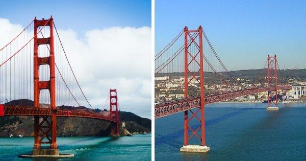 Мост Золотые Ворота (Калифорния, США) и Мост 25 апреля (Португалия)