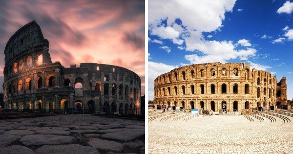 Колизей (Рим, Италия) и Амфитеатр в Эль-Джеме (Тунис)