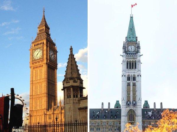 Биг-Бен (Лондон, Великобритания) и Башня Мира (Оттава, Канада)