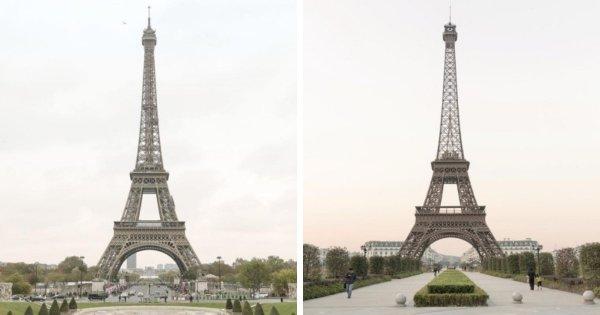 Эйфелева башня в Париже и её реплика в китайском городе Тиандученг