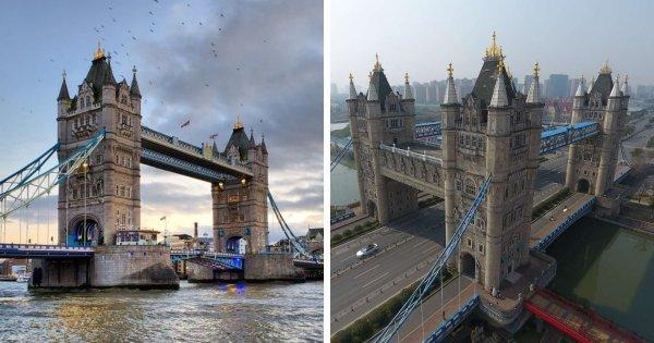 Тауэрский мост в Лондоне и его реплика в китайском городе Сучжоу