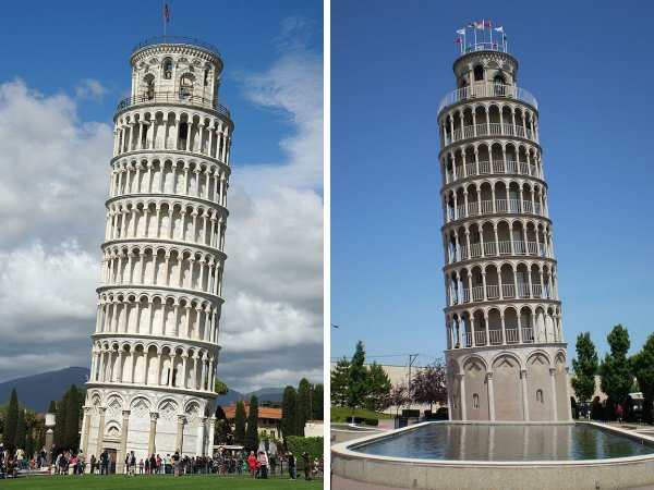 Пизанская башня (Италия) и водонапорная башня в американском городе Найлс