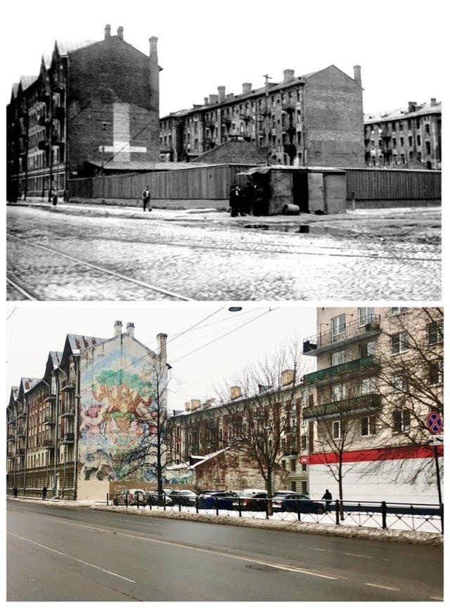 Здания Гаванского рабочего городка со стороны Наличного переулка.1939 и 2021 год.