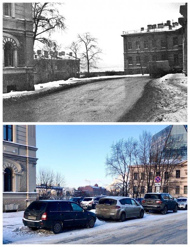 Малоохтинский проспект.1971 и 2021 год.