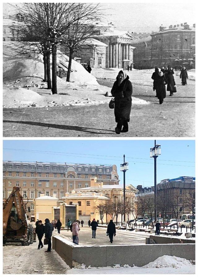 Сенная площадь.Февраль 1942 и февраль 2021 года.