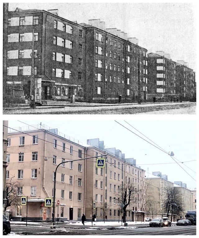 Новые дома в Володарским районе / Проспект Обуховской Обороны, 95.~1934 и 2021 год.