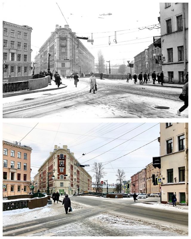 Демидов мост через канал Грибоедова.1991 и 2021 год.