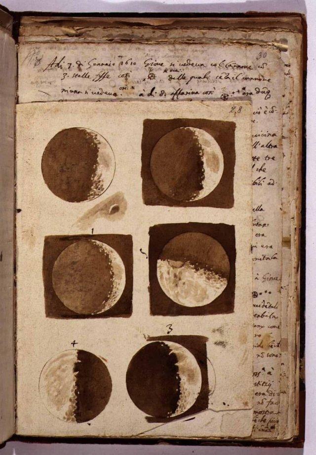 Зарисовки Луны от Галилея. 1609 год