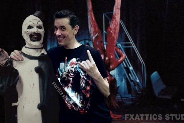 Дэвид Ховард Торнтон и клоун Арт из фильма «Ужасающий»