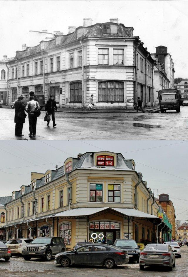 Угол Фруктовой линии и Торгового переулка1980-е и 2021 год.